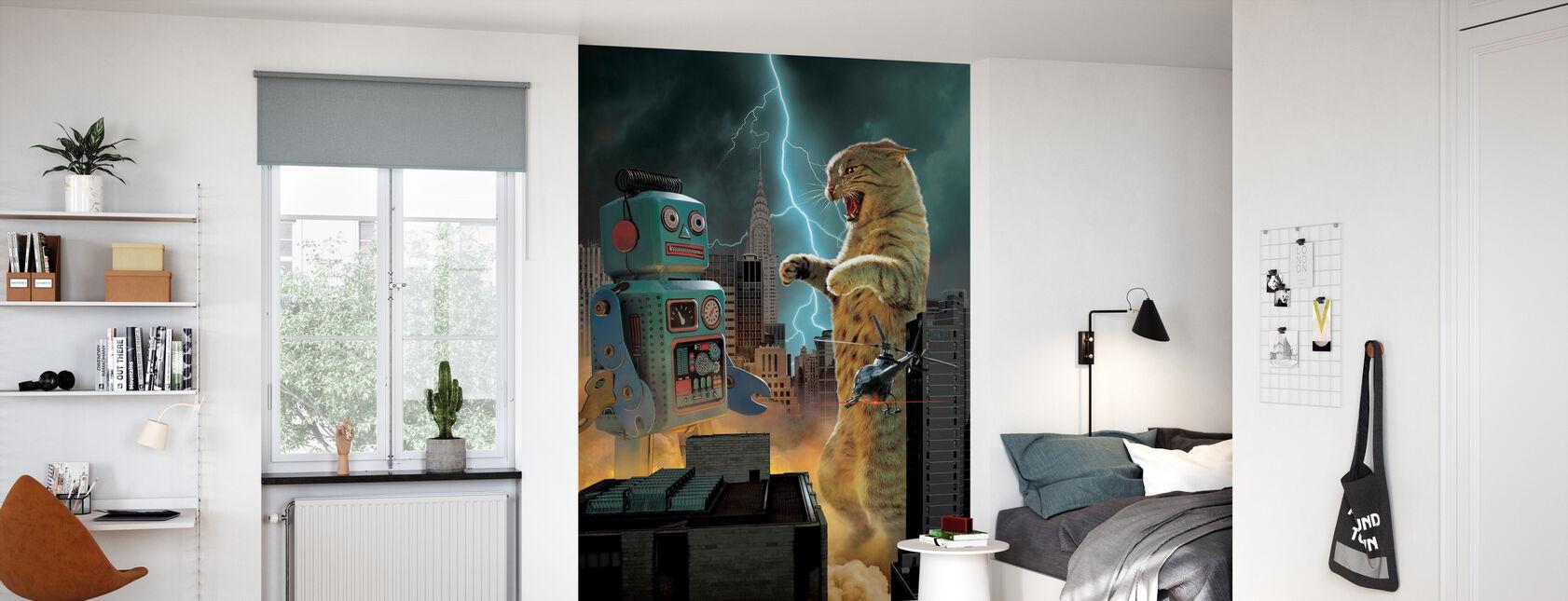 Catzilla vs Robot - Tapet - Barnrum
