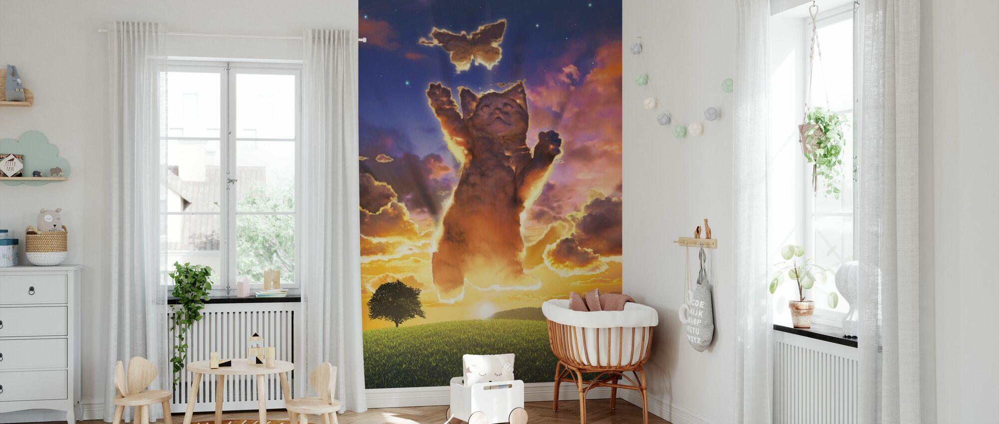 Molnet kattunge solnedgång - Tapet - Babyrum