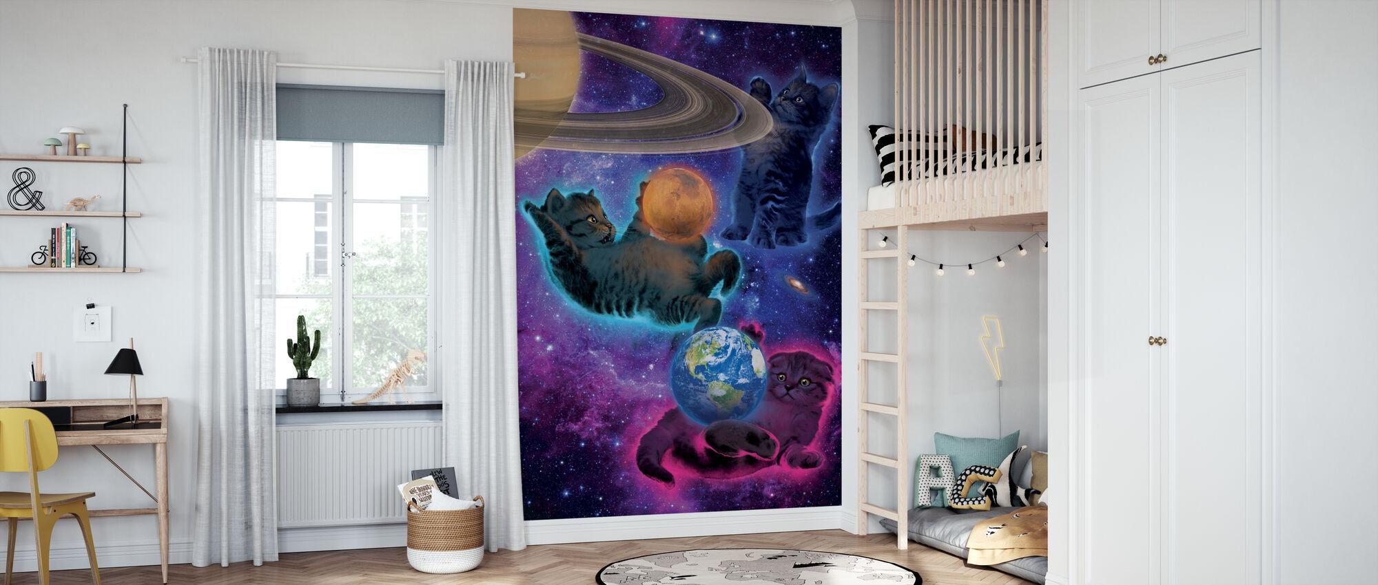 Kosmische Kittens - Behang - Kinderkamer