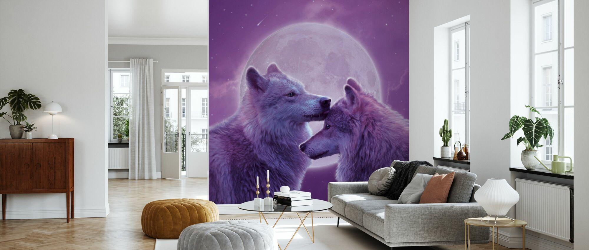 Liebende Wölfe - Tapete - Wohnzimmer