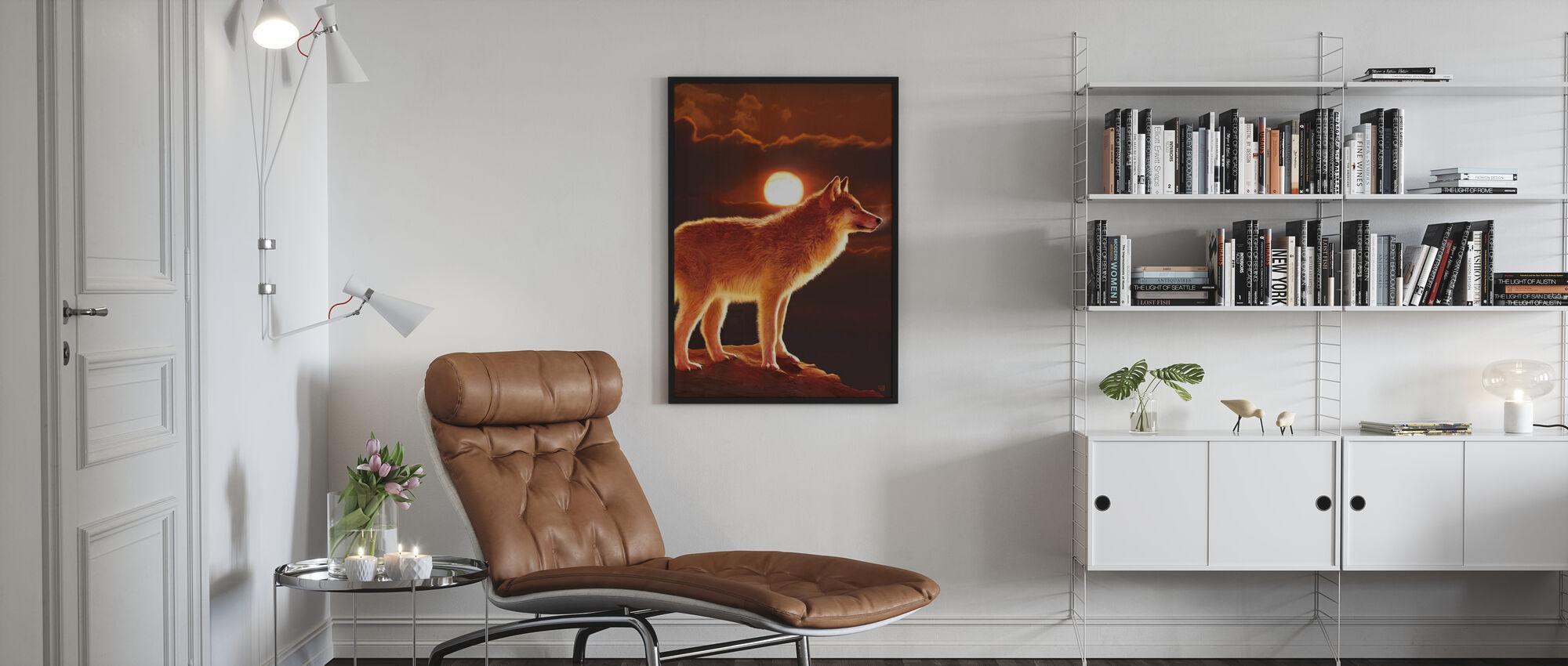 Zonsondergang Wolf - Ingelijste print - Woonkamer