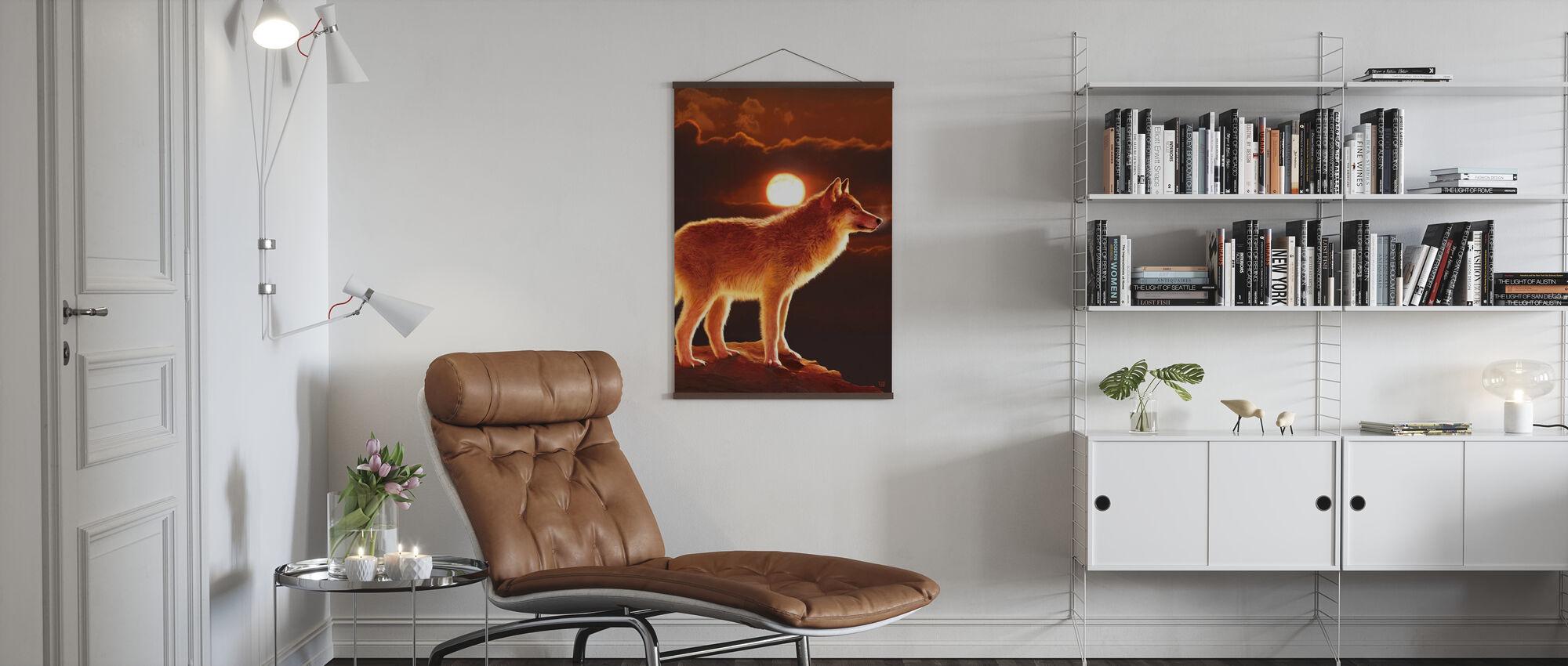 Zonsondergang Wolf - Poster - Woonkamer