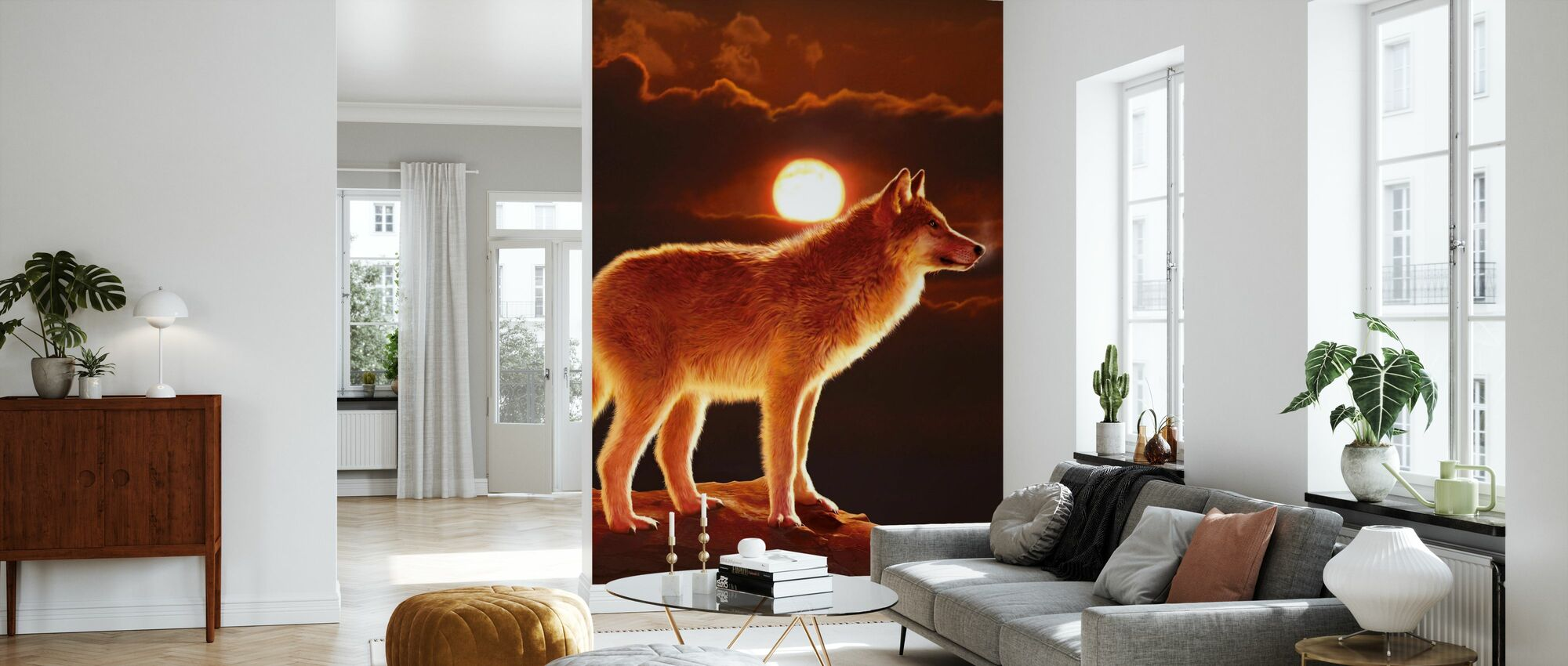 Sunset Wolf - Wallpaper - Living Room