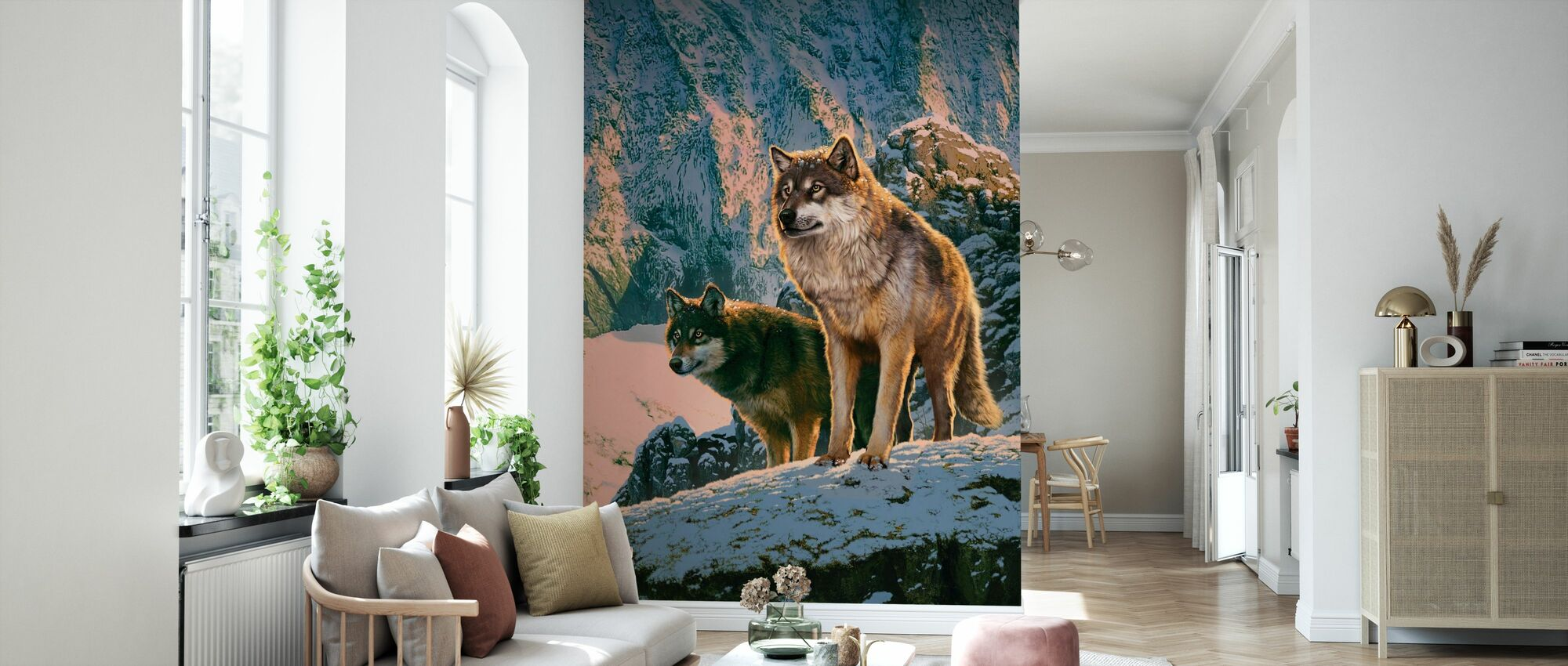 Wolf Couple in Sunset - Wallpaper - Living Room