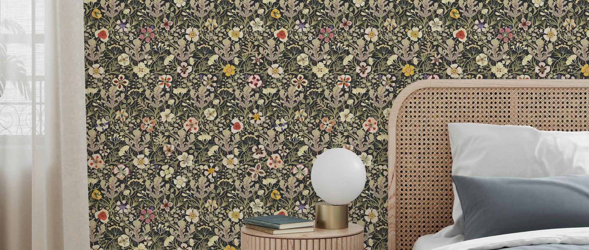 Anemone - Black - Wallpaper - Bedroom
