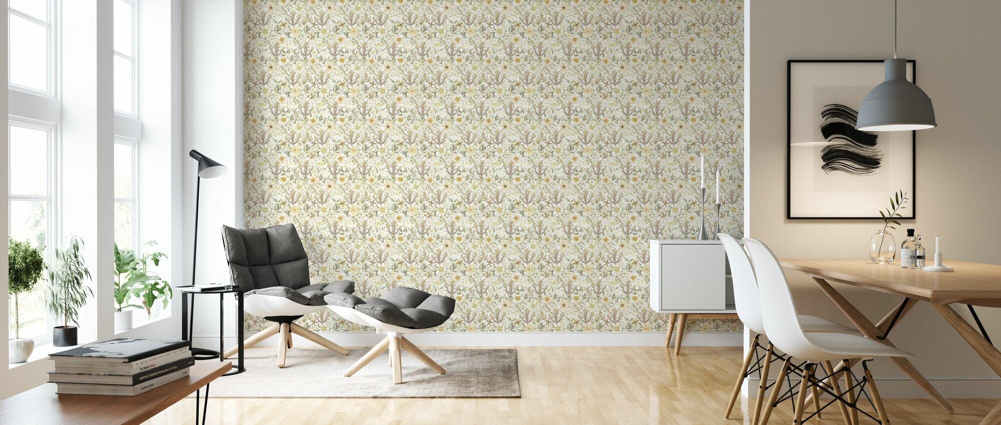 Anemone - White - Wallpaper - Living Room