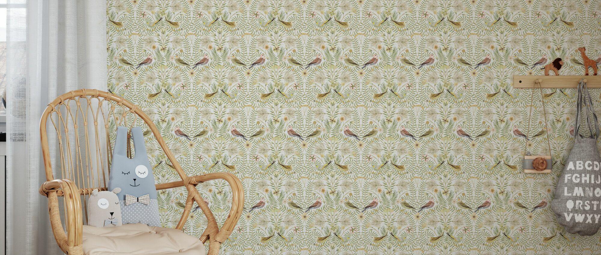 Birds Nest - White - Wallpaper - Kids Room