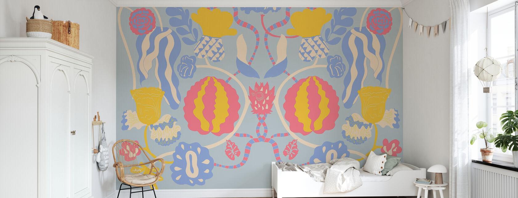 In Bloom Blue - Wallpaper - Kids Room