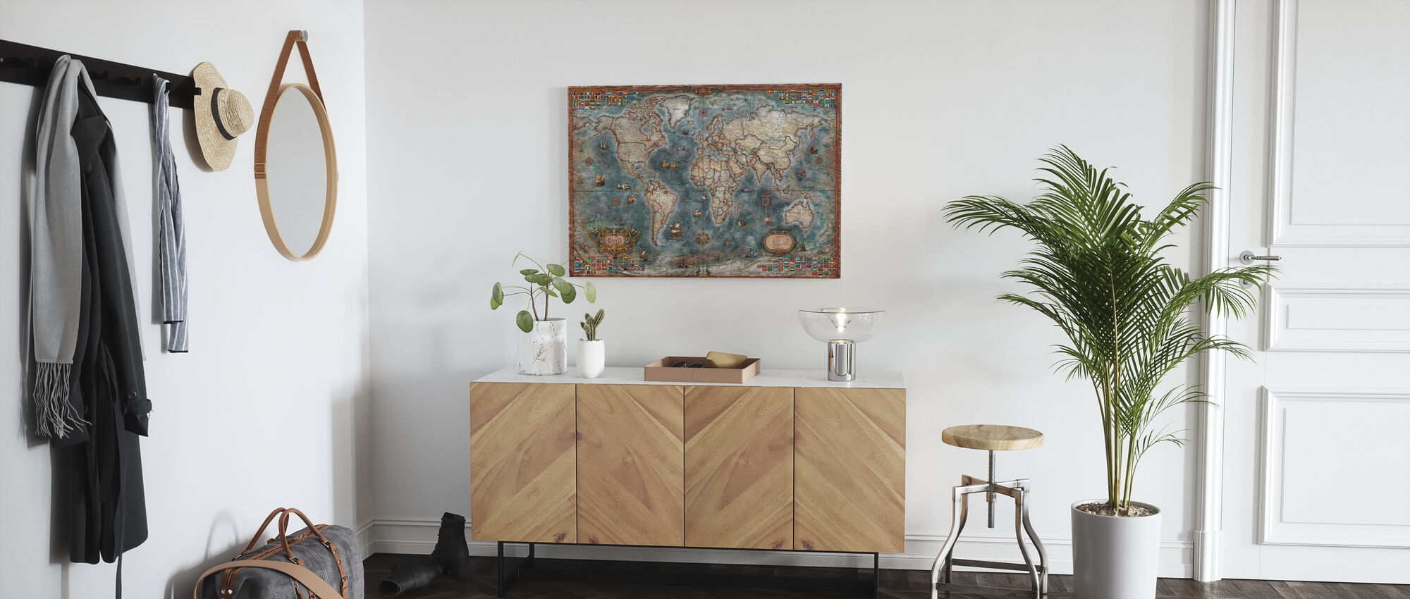 Old Style World Map - Canvas print - Hallway