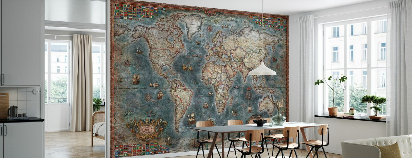 Old Style World Map - Wallpaper - Kitchen