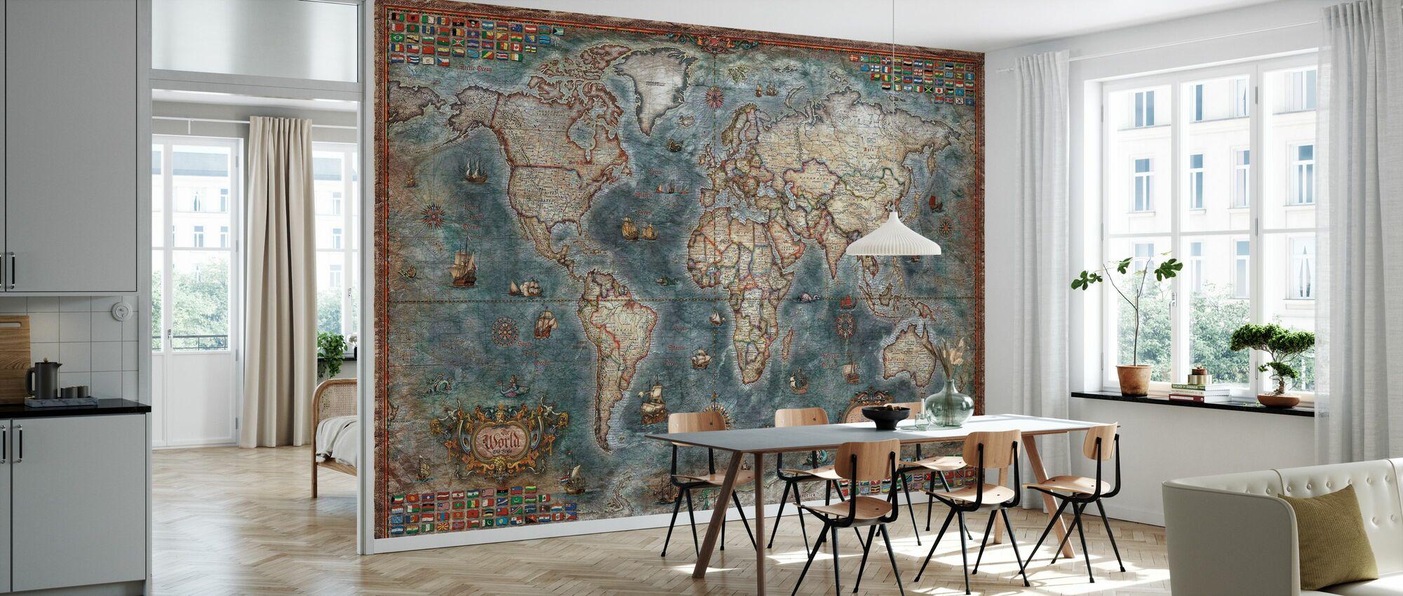 Oude Stijl Wereld Kaart - Behang - Keuken