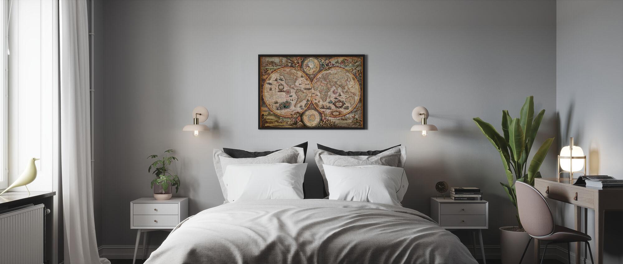 Vintage World Map - Framed print - Bedroom