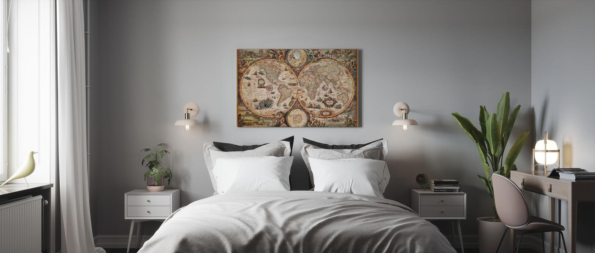 Vintage Weltkarte - Leinwandbild - Schlafzimmer