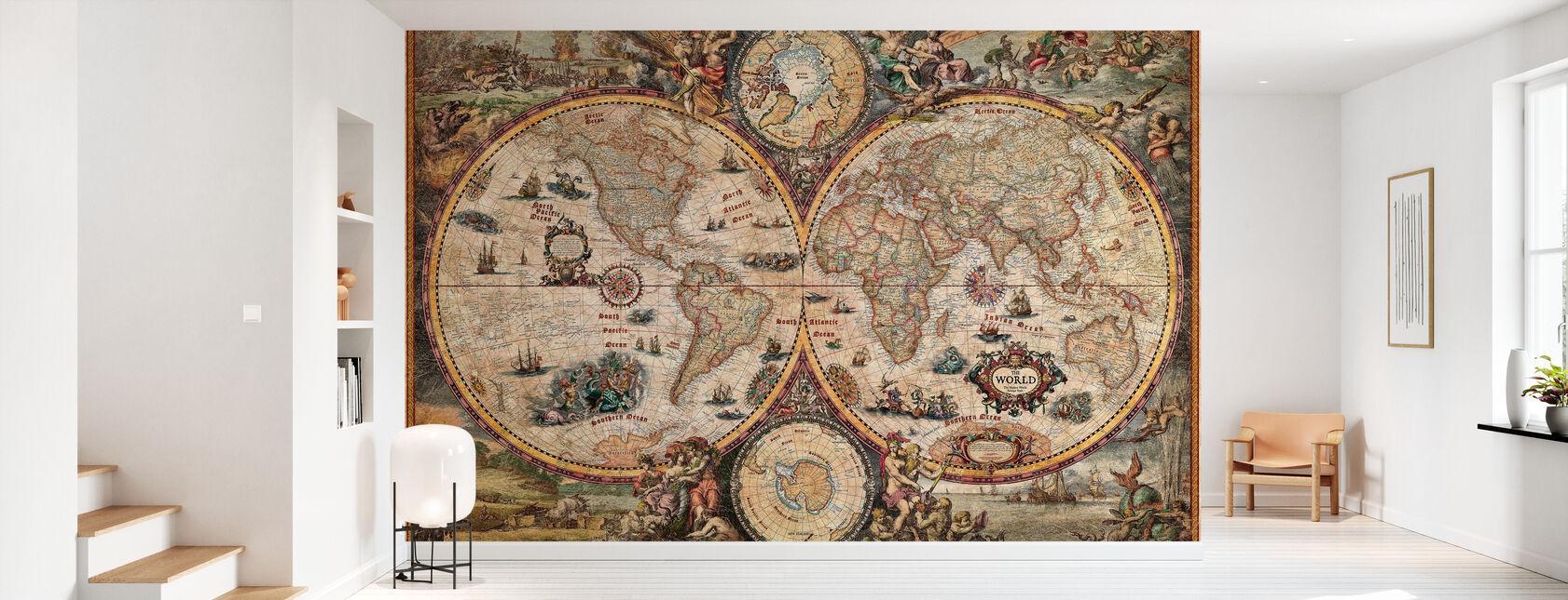 Vintage World Map - Wallpaper - Hallway