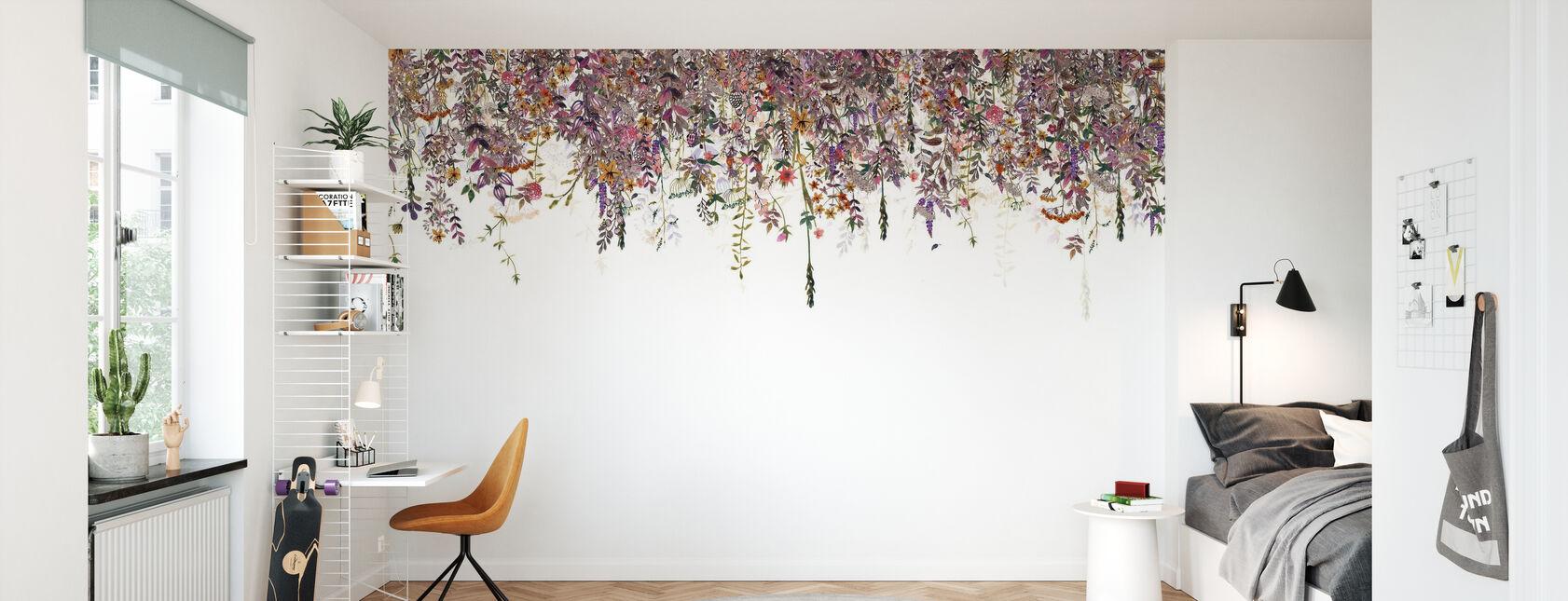 Bloemen Vervagen Roze - Behang - Kinderkamer