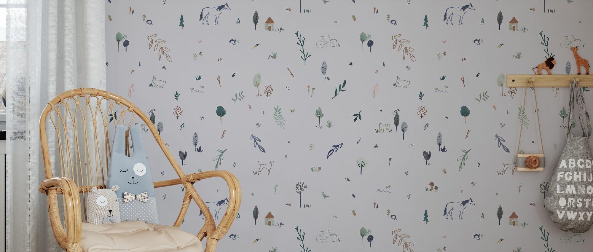 Whimsical Blue - Wallpaper - Kids Room