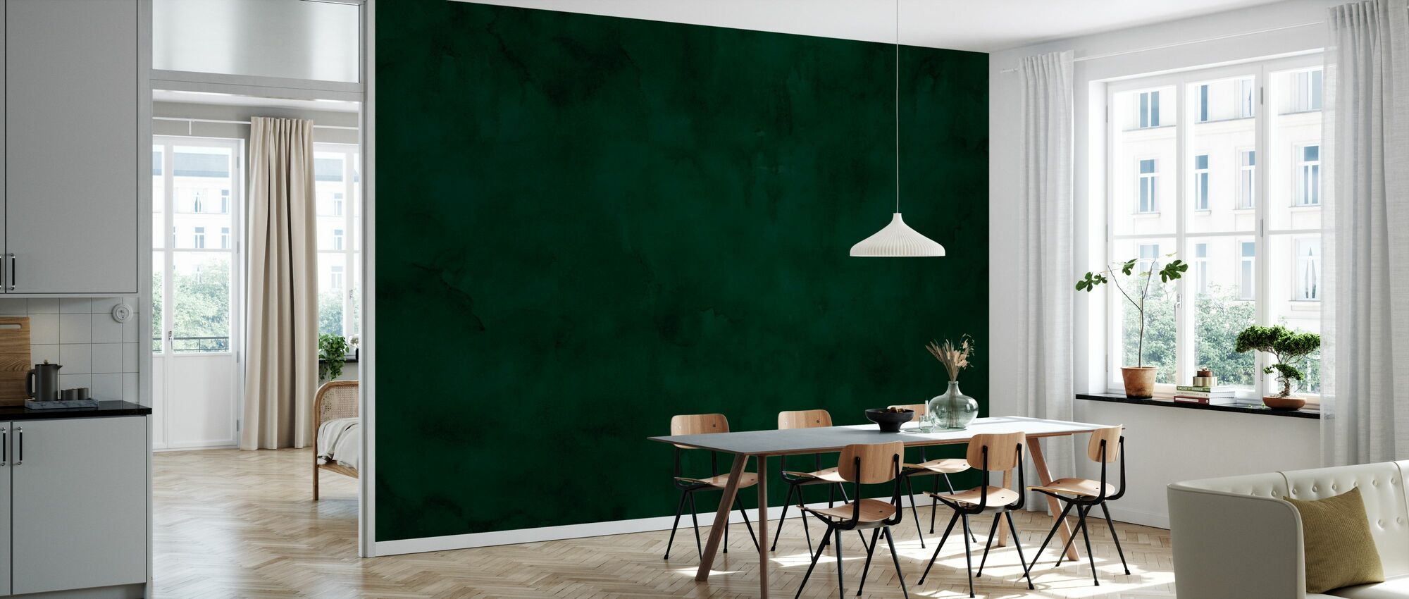Watercolour - Dark Emerald - Wallpaper - Kitchen