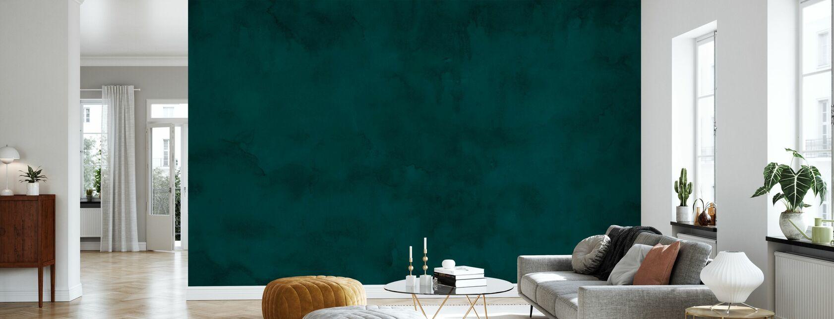 Watercolour - Deep Petrol - Wallpaper - Living Room
