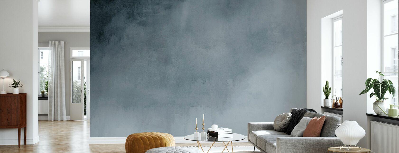 Watercolour - Paynes Grey - Wallpaper - Living Room