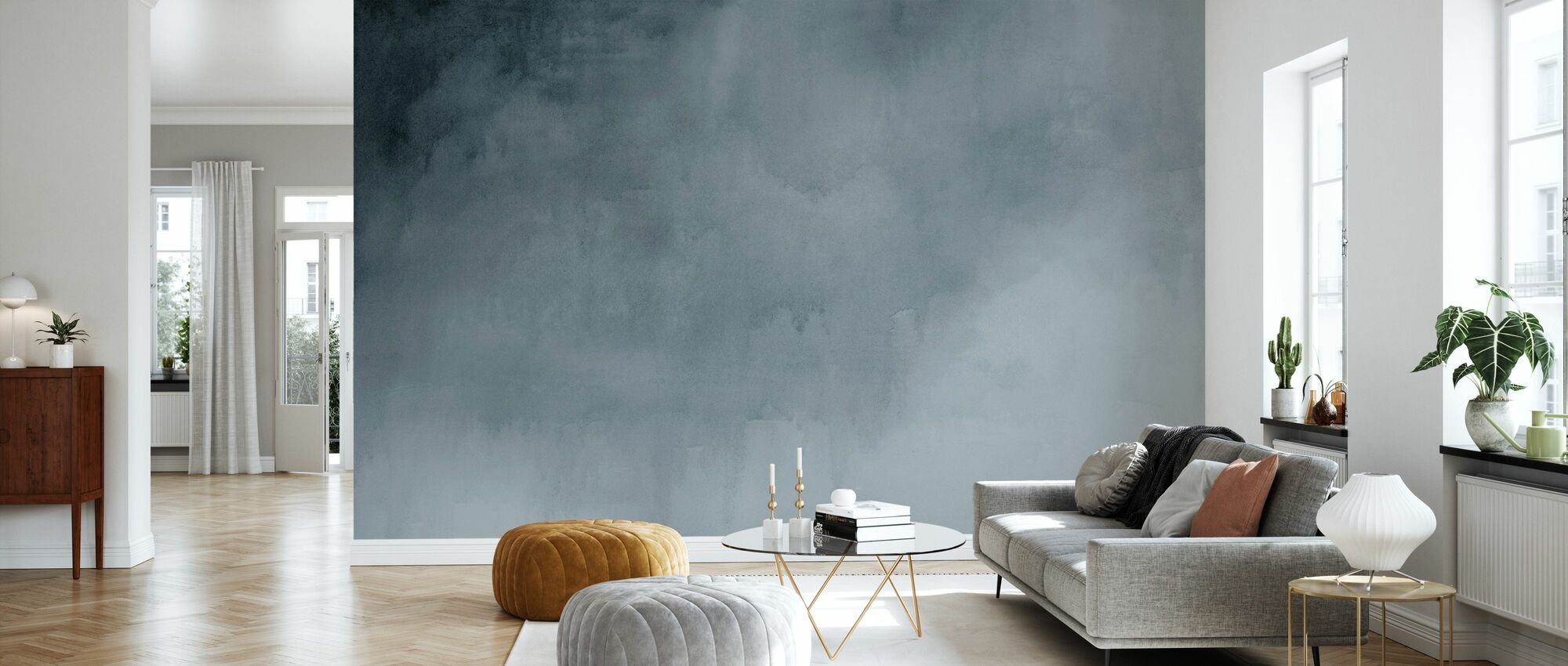 Watercolour - Paynes Grey - Wallpaper - Living Room