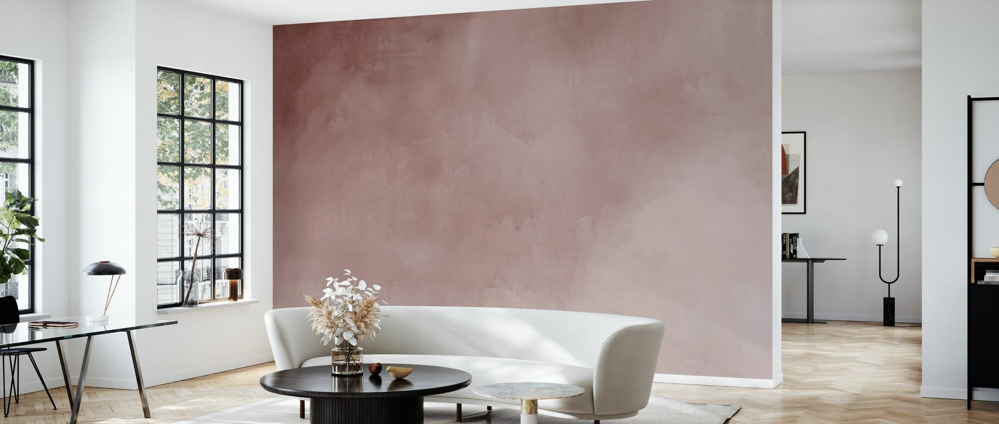 Watercolour - Pink Calcite - Wallpaper - Living Room
