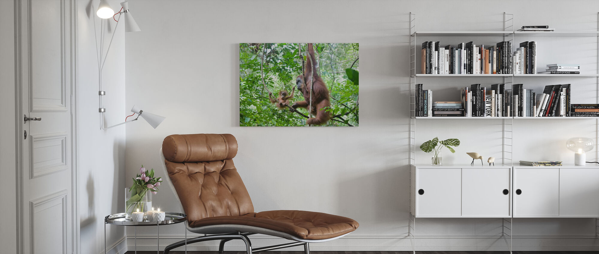 Mother and Baby Orangutan - Canvas print - Living Room