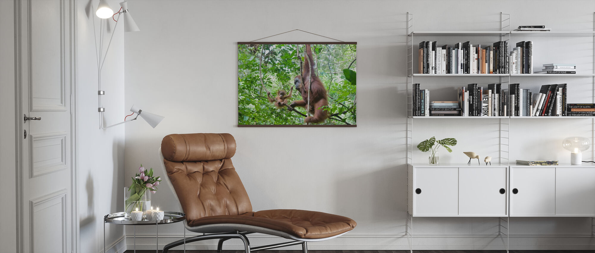 Mother and Baby Orangutan - Poster - Living Room