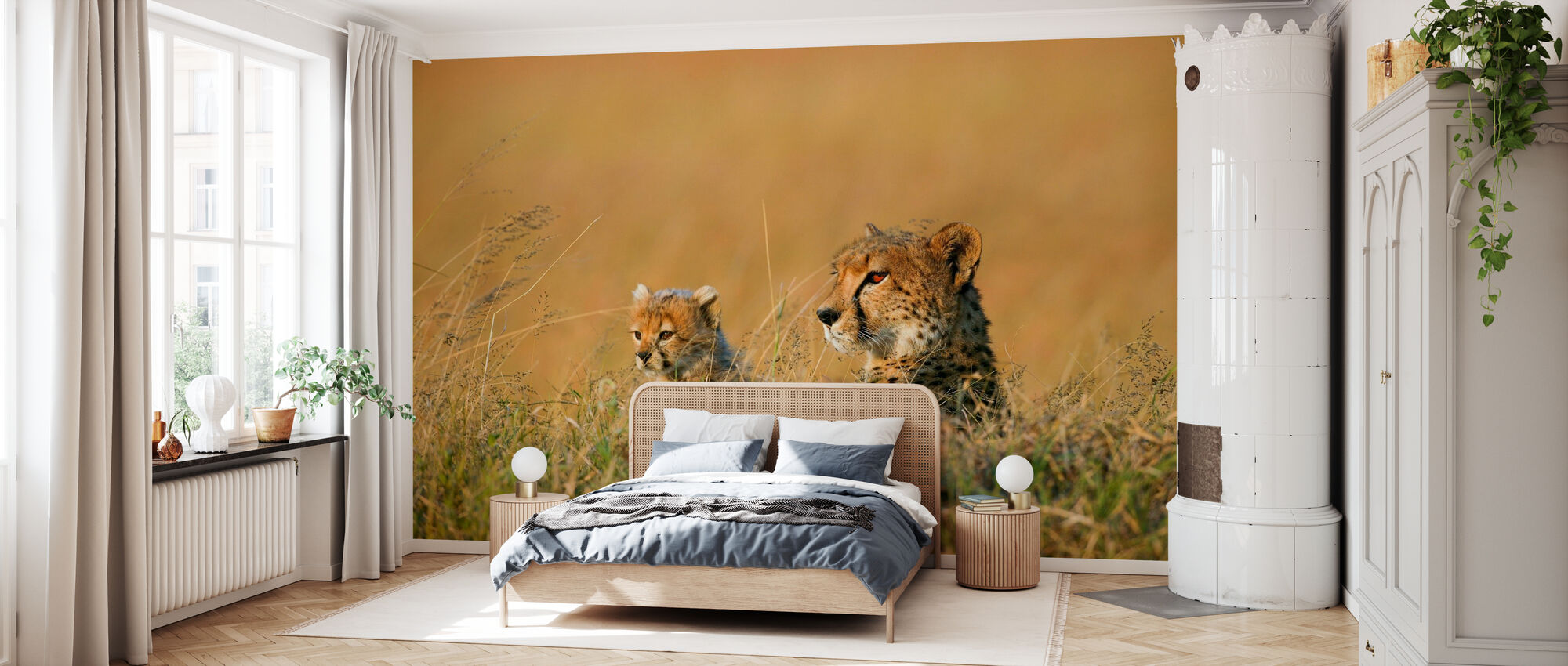 Mother and Cub Cheetah - Wallpaper - Bedroom