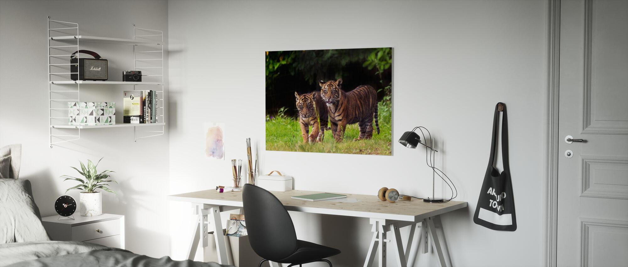 Sumatraanse tijger met welp - Canvas print - Kinderkamer