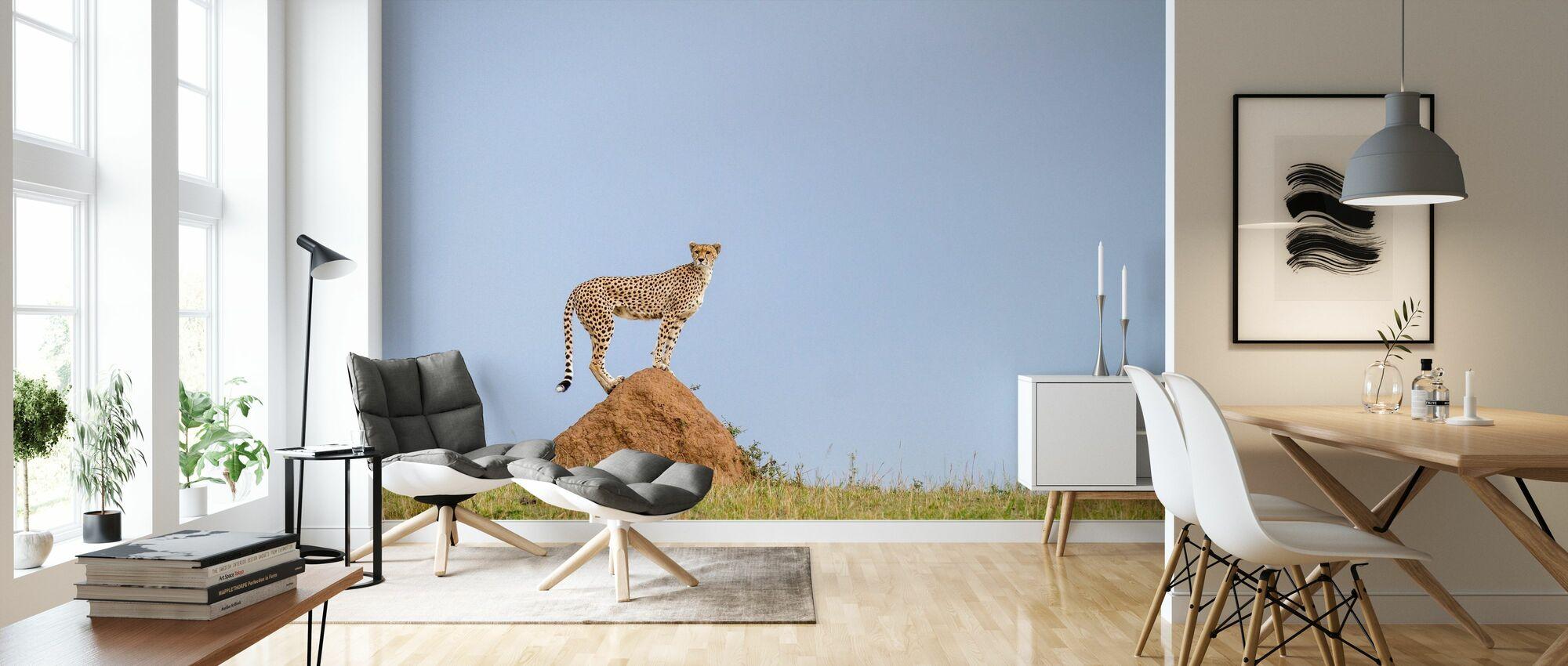 Cheetah on Mound - Wallpaper - Living Room