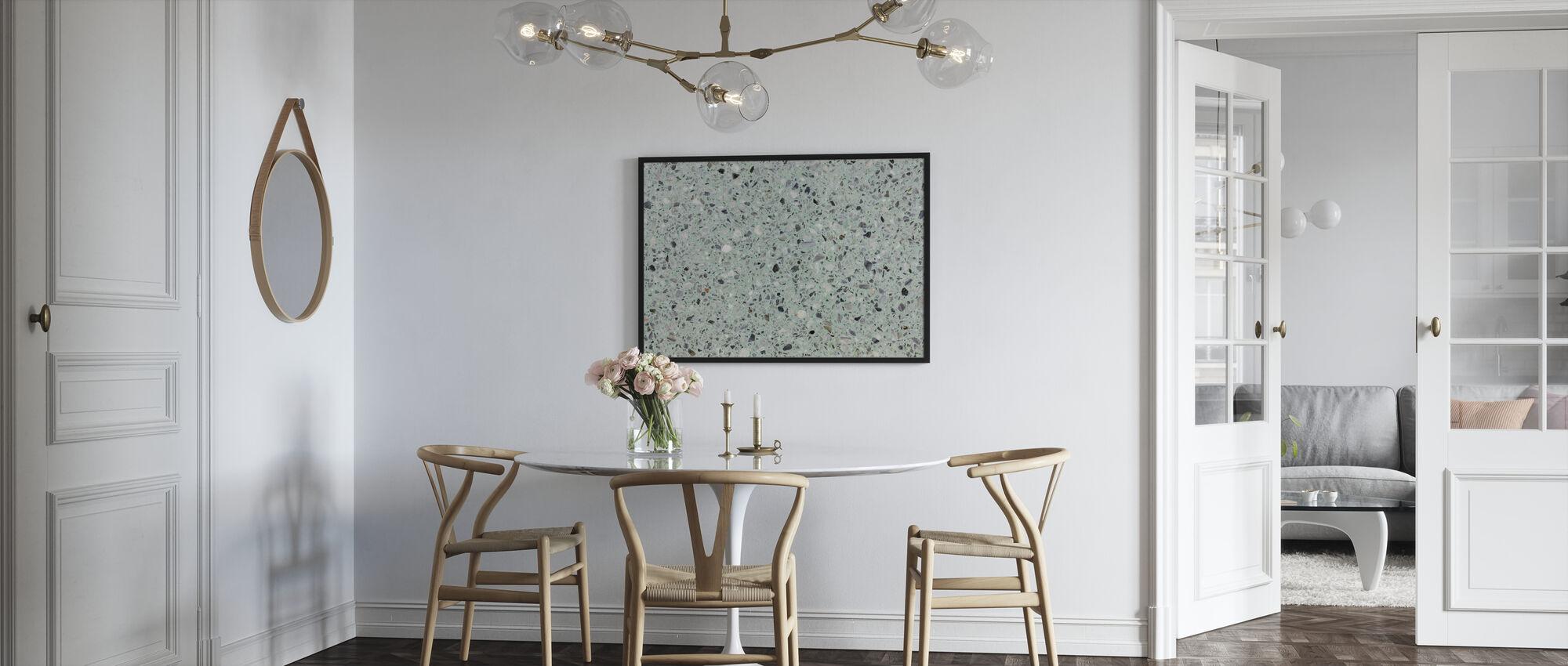 Mint Groen Terrazzo - Ingelijste print - Keuken