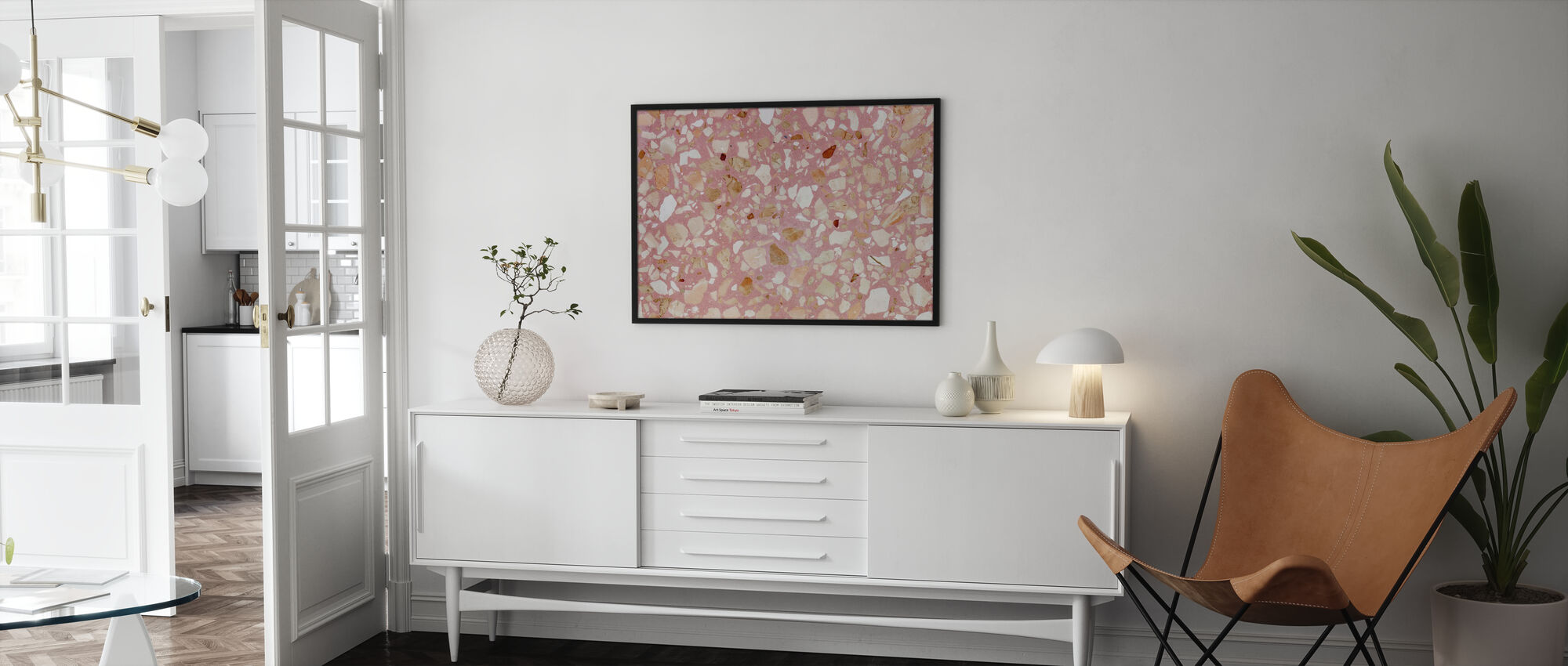 Pink Terrazzo Texturae - Ingelijste print - Woonkamer