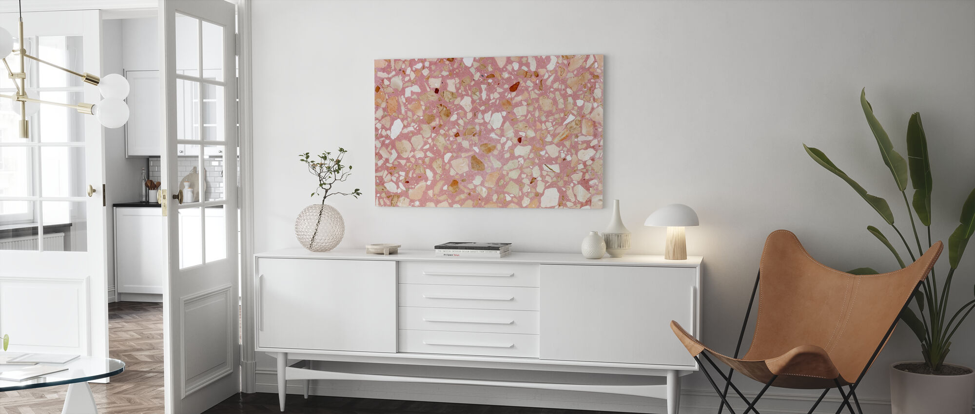 Pink Terrazzo Texturae - Canvas print - Woonkamer
