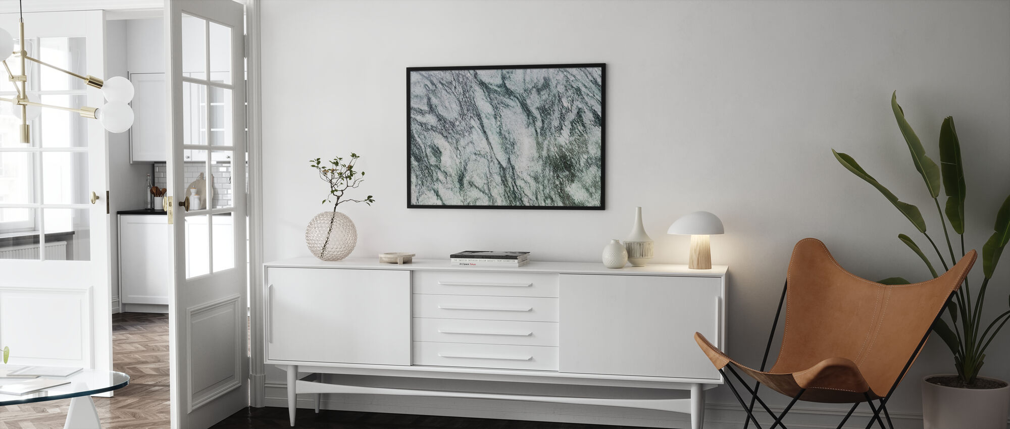 White and Green Marble - Poster - Living Room