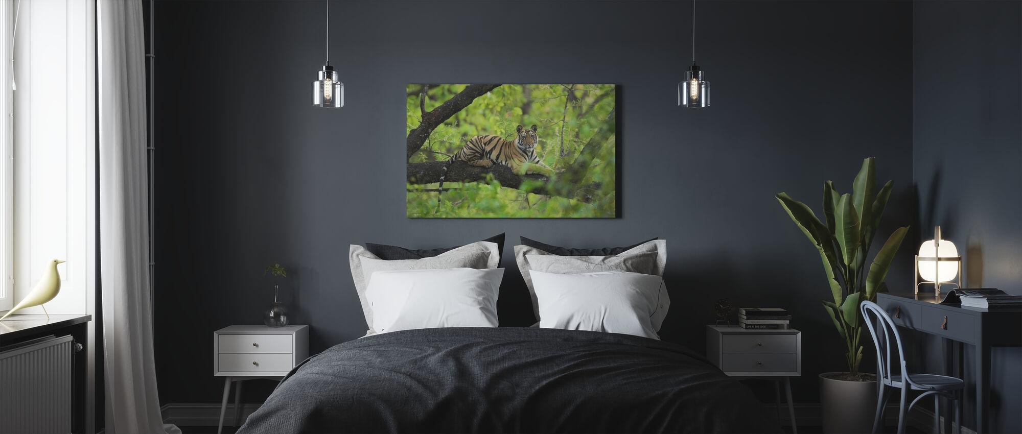 Tijger rust in boom - Canvas print - Slaapkamer