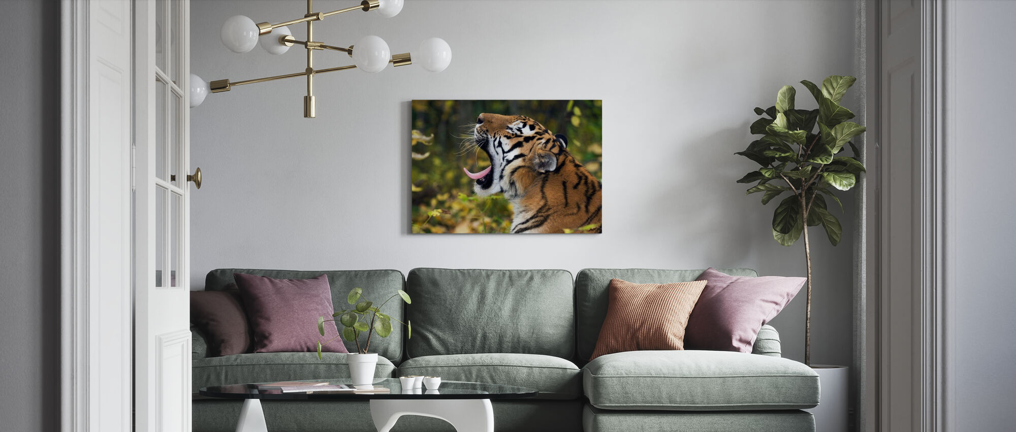 Geeuwen Siberische Tijger - Canvas print - Woonkamer