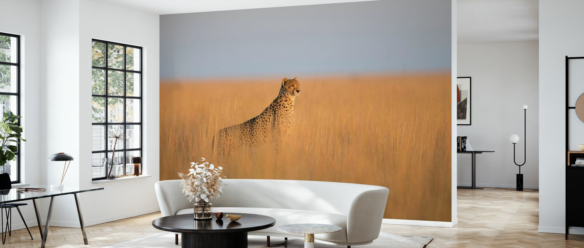 Cheetah in Long Grass - Wallpaper - Living Room