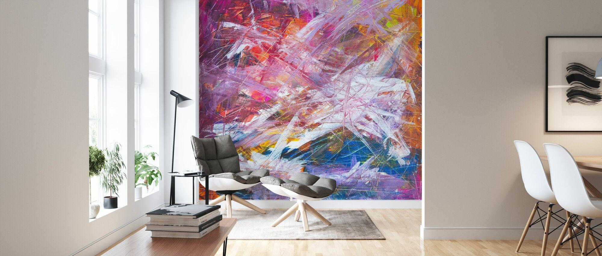 Abstrakt målning - Tapet - Vardagsrum