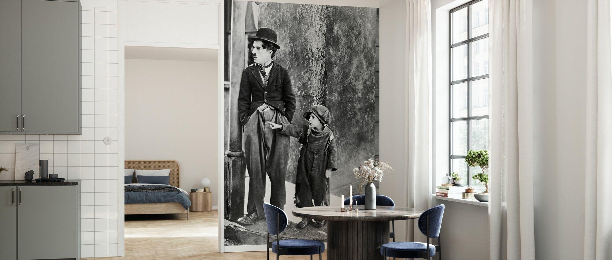 Charlie Chaplin en Jackie Coogan in de Kid - Behang - Keuken