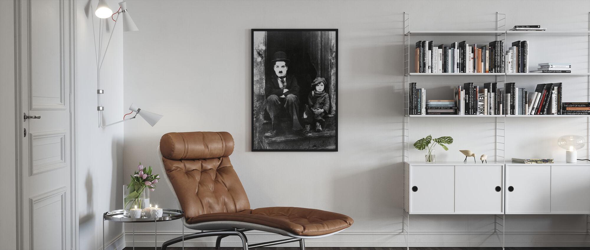 Charlie Chaplin and Jackie Coogan - Poster - Living Room