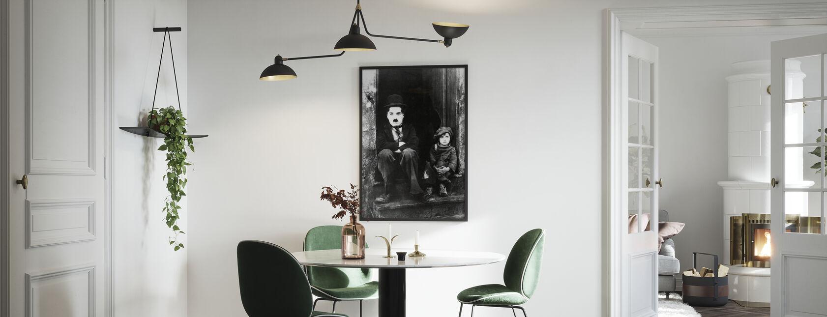 Charlie Chaplin og Jackie Coogan - Indrammet billede - Køkken