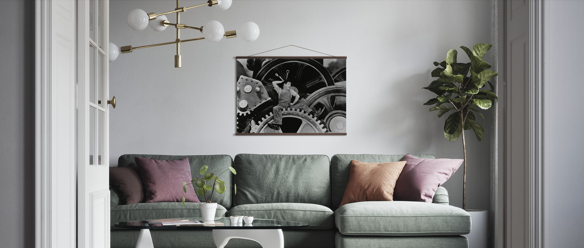 Charlie Chaplin in Modern Times - Poster - Living Room