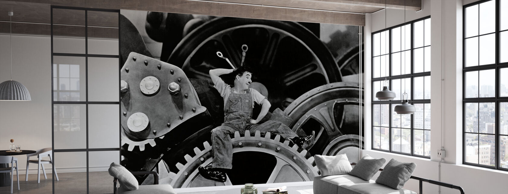 Charlie Chaplin w czasach nowożytnych - Tapeta - Biuro