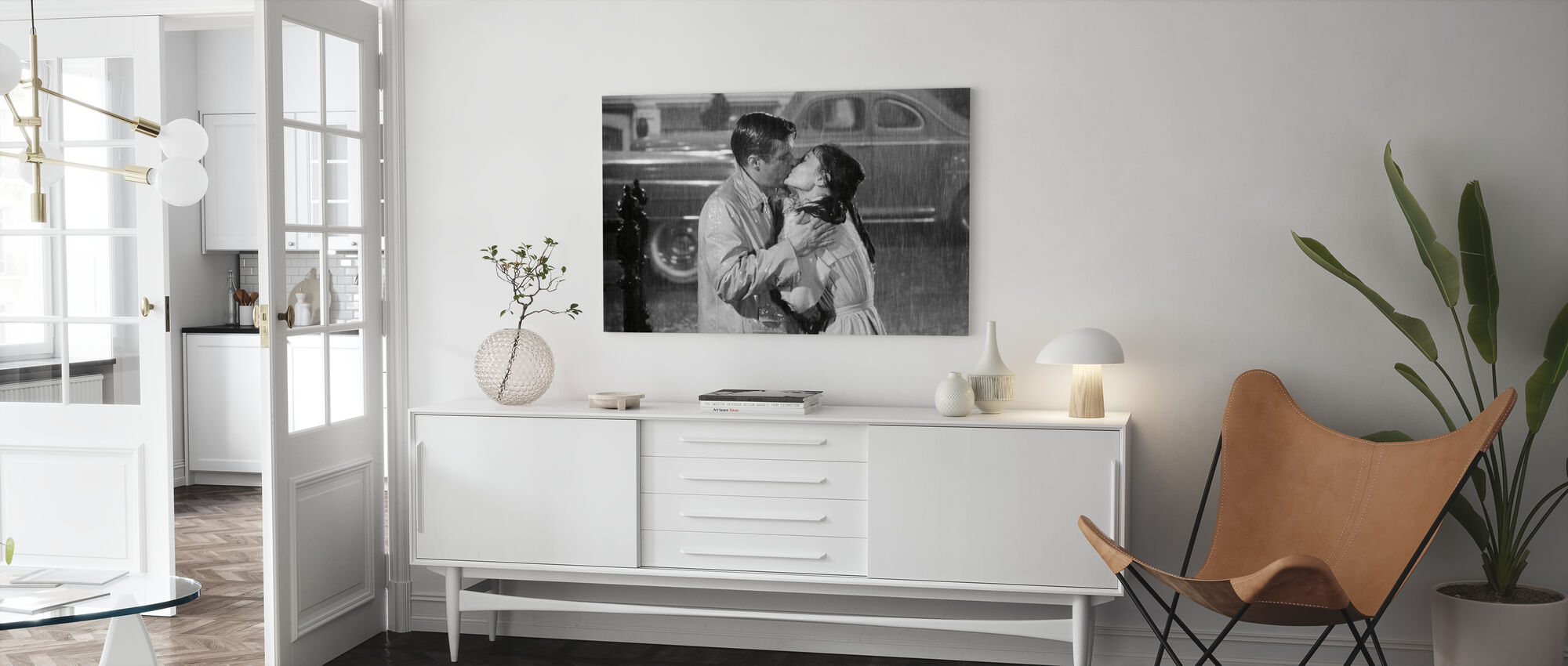 Audrey Hepburn and George Peppard in Breakfast at Tiffanys - Canvas print - Living Room