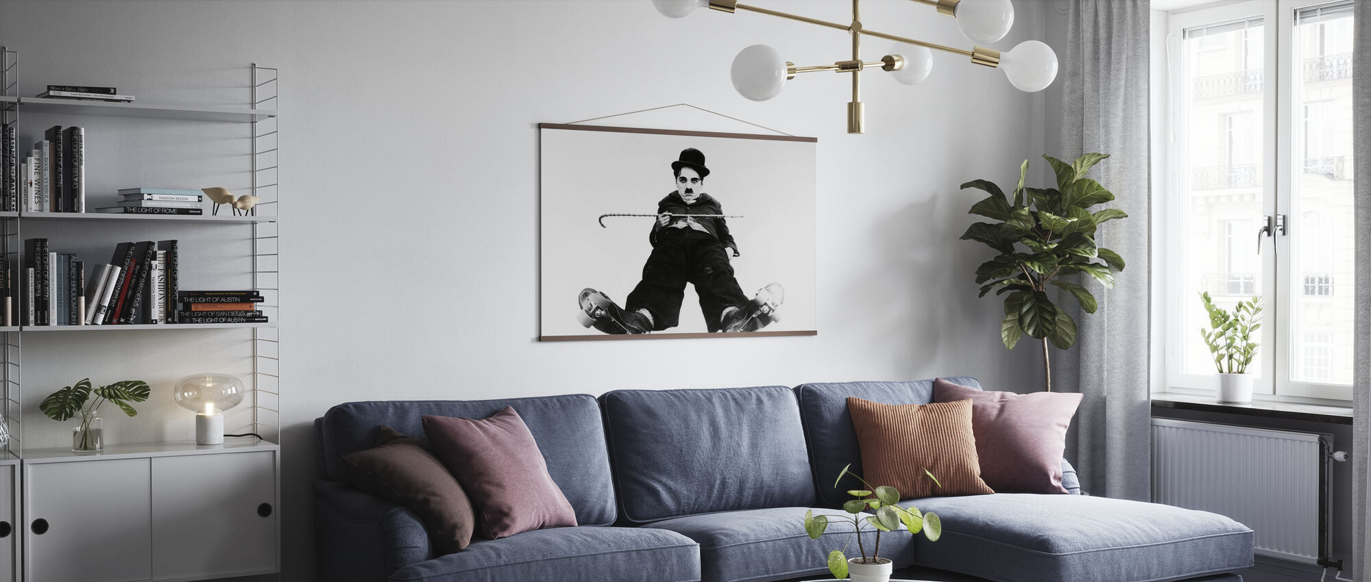 Charlie Chaplin in the Rink - Poster - Living Room