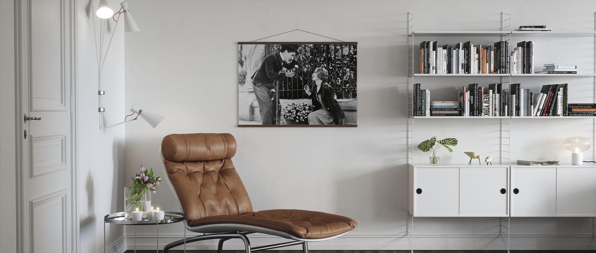 Charlie Chaplin and Virginia Cherrill in City Lights - Poster - Living Room