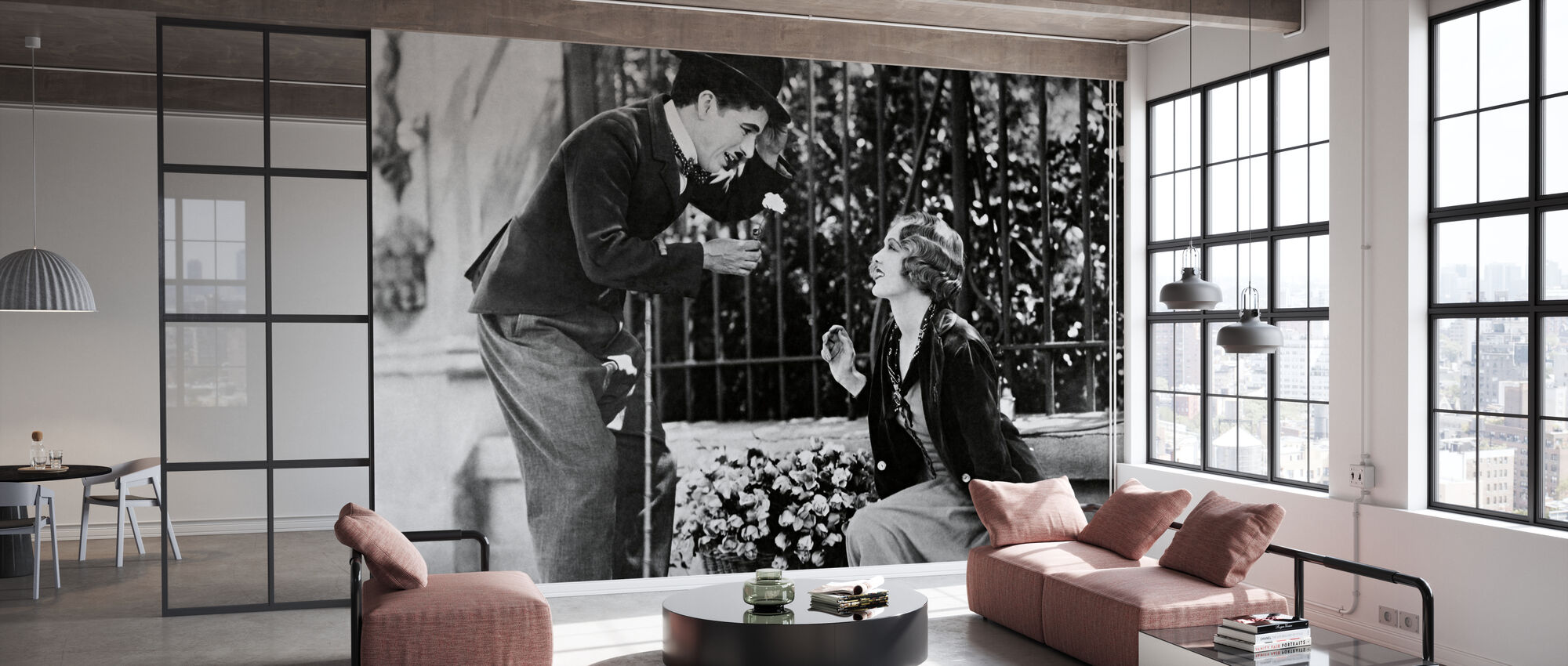 Charlie Chaplin and Virginia Cherrill in City Lights - Wallpaper - Office