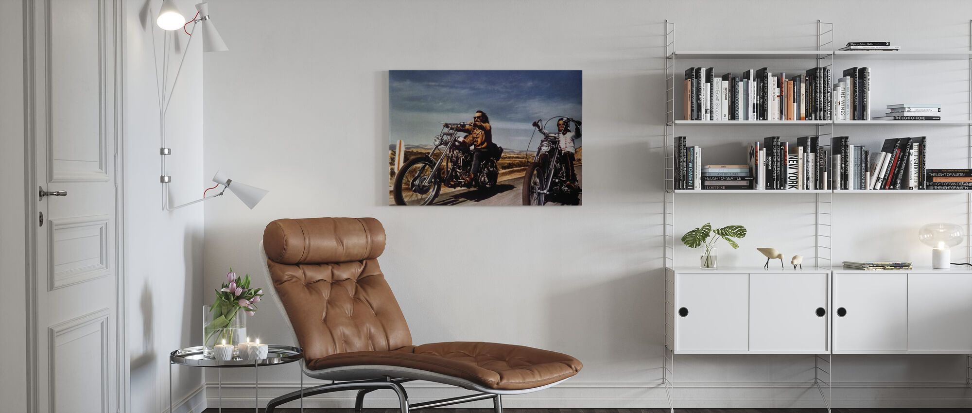 Dennis Hopper og Peter Fonda i Easy Rider - Billede på lærred - Stue