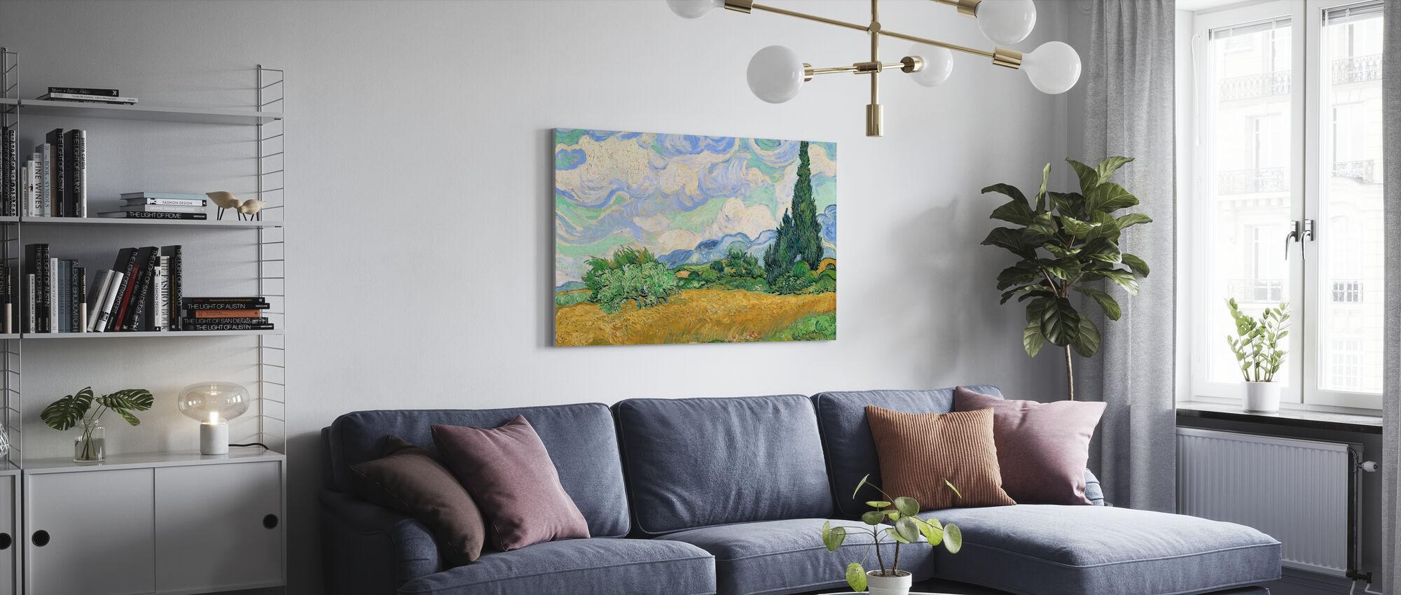 Vetefält med cypresser - Canvastavla - Vardagsrum