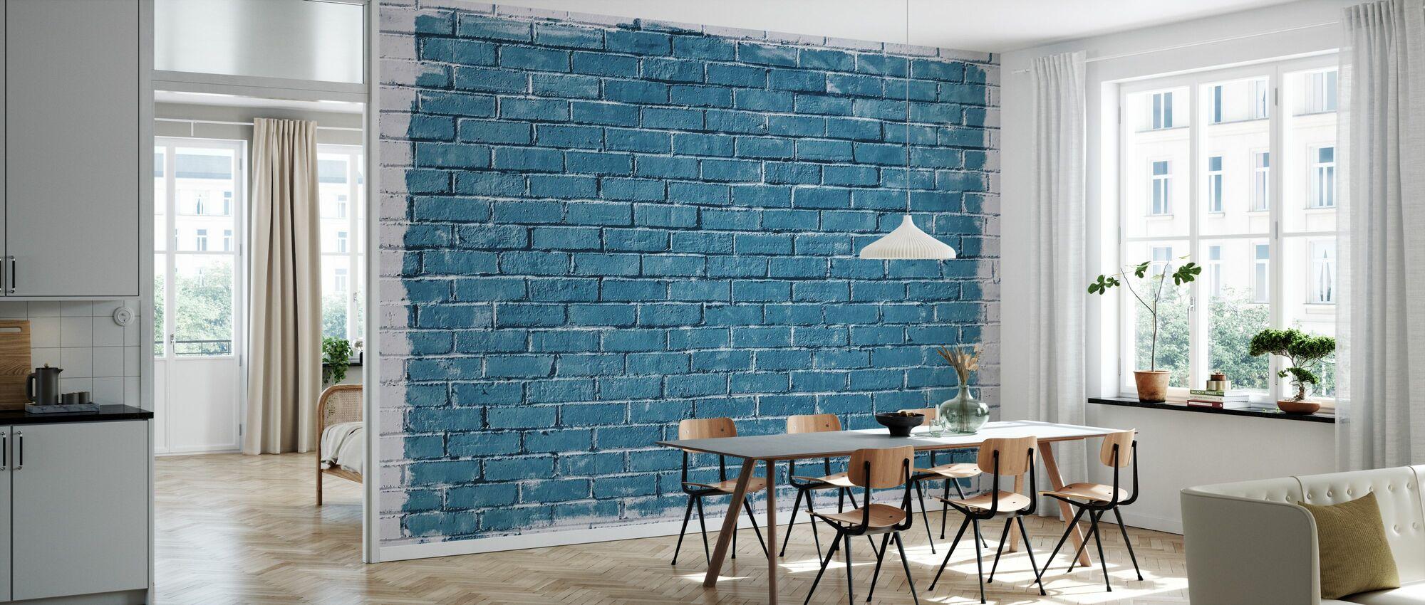 White and Blue Brick Wall - Wallpaper - Kitchen